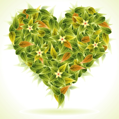 green heart: Valentines Day Heart with Flower and Leaves isolated on white, element for design, vector illustration Illustration