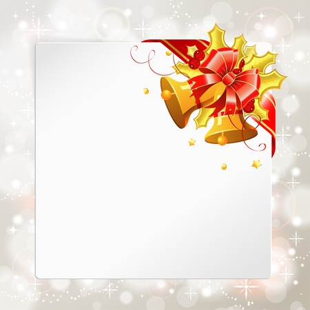 Christmas Frame with Blank Sheet of White Paper, Bell, mistletoe and Ribbon, vector illustration Vector