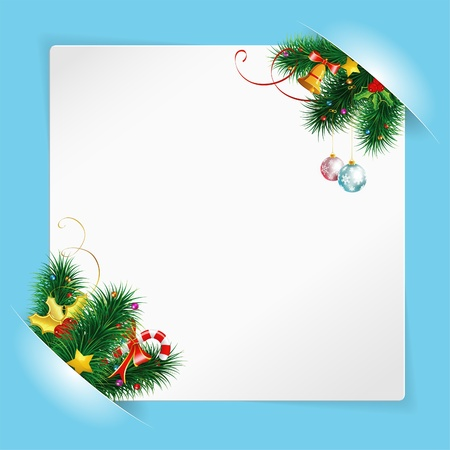 Christmas Frame with Sheet of White Paper for your Text or Photos, Mounted in Pockets with Bell and Fir Branches Vector