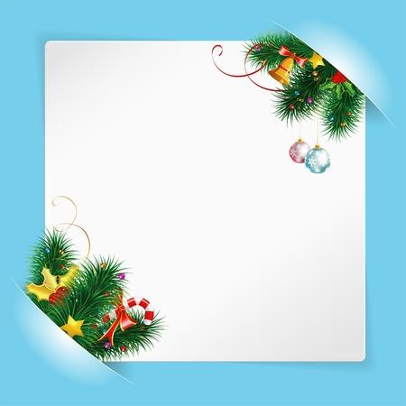 empty pocket: Marco de Navidad con hoja de papel blanco para el texto o fotos, montadas en los bolsillos con Bell y ramas de abeto Vectores