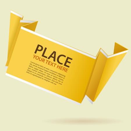 Paper Origami Banner, element for design, vector illustration Vector