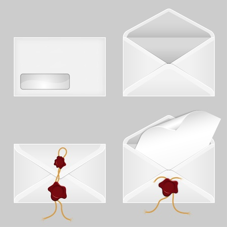 Set of Envelopes with a Blank Sheet of Paper and Wax Seals Vector