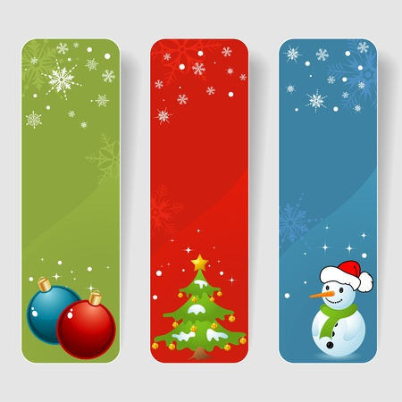 Three christmas frame with baubles, tree & snowman, element for design, vector illustration Vector