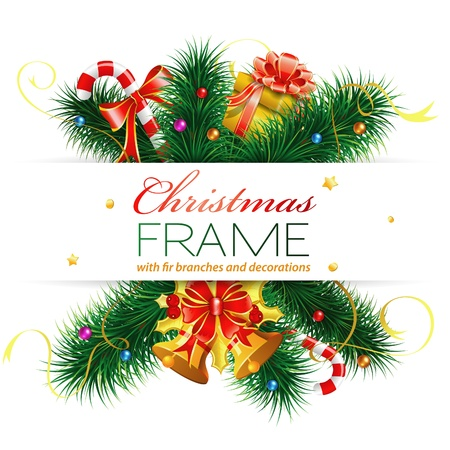 Christmas Frame with Candy, Fir Branches, Mistletoe, Gift, element for design, vector illustration Stock Vector - 11662208