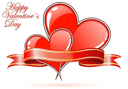 Valentines Day background with Hearts and ribbon, element for design Stock Vector - 11956687