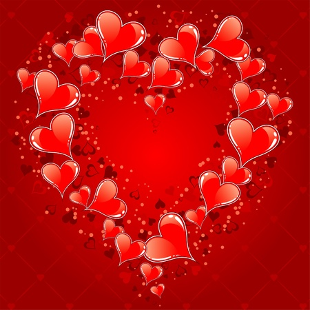 Valentines Day Card with Hearts, element for design, vector illustration Stock Vector - 12013297
