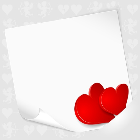 Valentines Day Card with Sheet of Paper with Hearts, mounted in pocket, template for design Vector