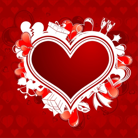 Valentines Day Frame with Hearts, Cupid and holiday element for design, vector illustration Vector