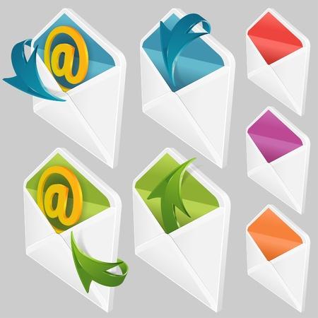 Set of Envelopes with Arrow, web element Illustration