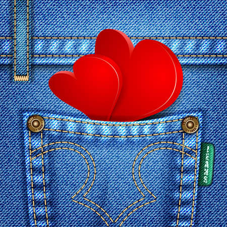 Valentine Jeans Texture with Hearts, illustration Vector
