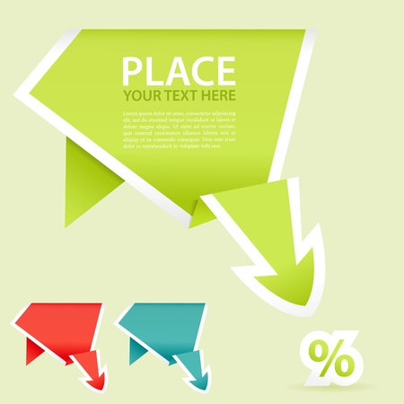 Paper Origami Arrow Downward, element for design, illustration Vector