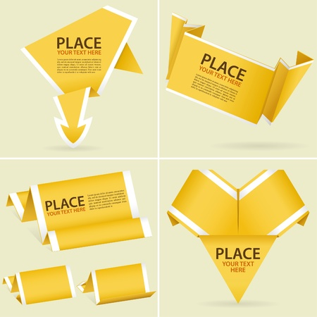 Collect Paper Origami Banner, element for design,  illustration