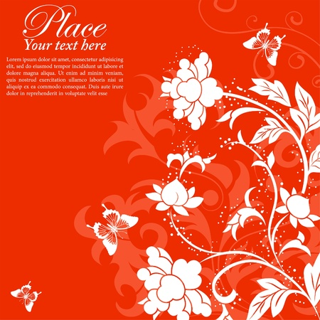 Flower Frame with Butterfly, element for design, illustration Vector