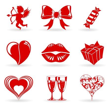 lips red: Recoger Iconos D�a de San Valent�n con el coraz�n, Cupido, los labios y los elementos de decoraci�n, ilustraci�n