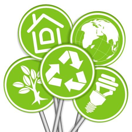 ahorro energia: Recoger Banner con el icono de Medio Ambiente, Árbol, Hoja, símbolo de luz Bombilla y el reciclaje, la ilustración Vectores