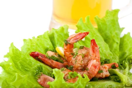 Plate with Tiger Prawns on a Lettuce with Beer on white Background Stock Photo - 12339140