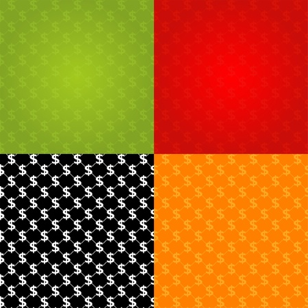 Financial Seamless Texture in different colors, illustration Vector