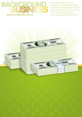 money background: Business Poster with Dollar Bills in Packs (with easily removable sample text), illustration