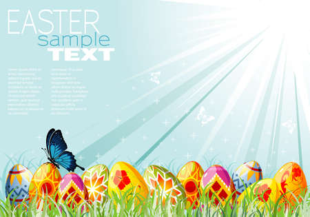Easter Eggs with Ornament in Grass with Sample Text (easy removable), illustration