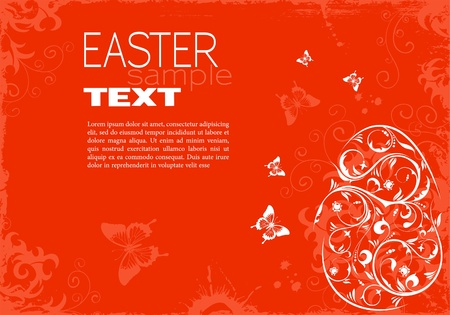 Grunge Easter Frame with Floral Egg and Sample Text (easy removable), illustration Stock Vector - 12339183