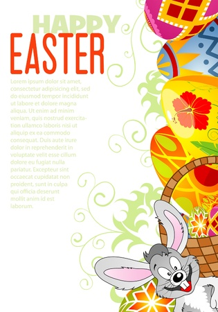 Easter Frame with Eggs, Rabbit and Sample Text (easy removable), illustration Stock Vector - 12339162
