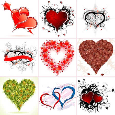 Set of Nine Hearts on Valentines Day in Different Styles, illustration Vector