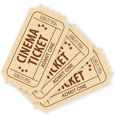 cinema ticket: Set of Three Cinema Tickets, illustration