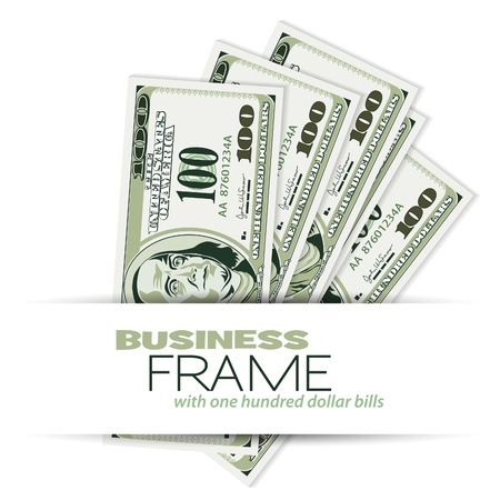 dollar icon: Business Frame with Dollar Bills, template for design Illustration