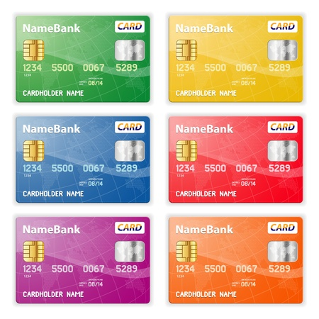 Set of Colorful Plastic Credit Cards, illustration Stock Vector - 12339296