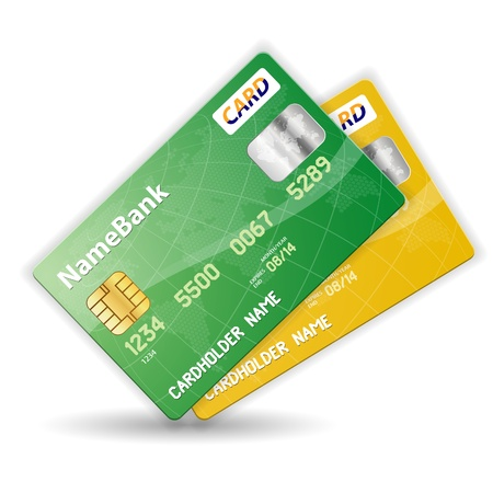 atm card: Juego de tarjetas de cr�dito de pl�stico de colores, la ilustraci�n