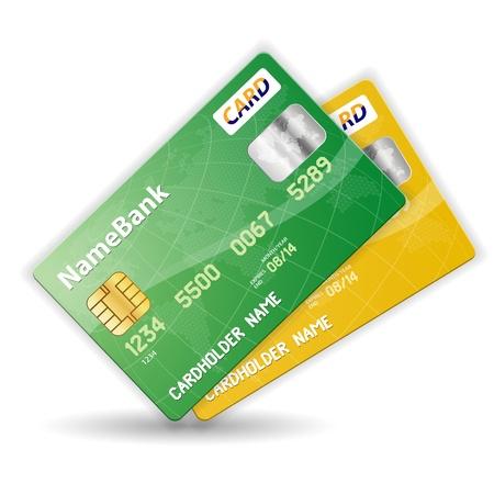 carta credito: Set di carte di credito in plastica colorati, illustrazione