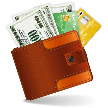 Leather Wallet with Dollars and Credit Cards, high detailed illustration Stock Vector - 12339300