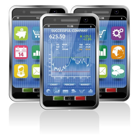 Collect Smartphones with Stock Market Application and various Icons Stock Vector - 12489889