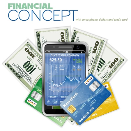 touchphone: Financial Concept with Touchphone (Stock Market Application), Dollar Bills and Credit Cards,  Illustration