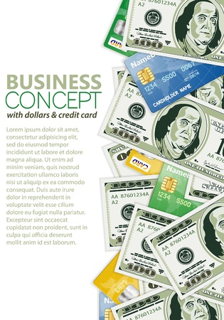 Business Frame with Dollar Bills and Credit Cards, template for design Stock Vector - 12489892
