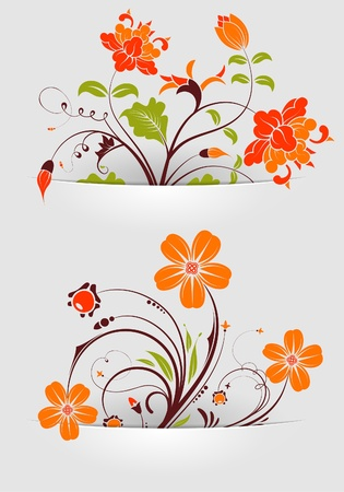 Collect Flower mounted in pockets, template for design Vector