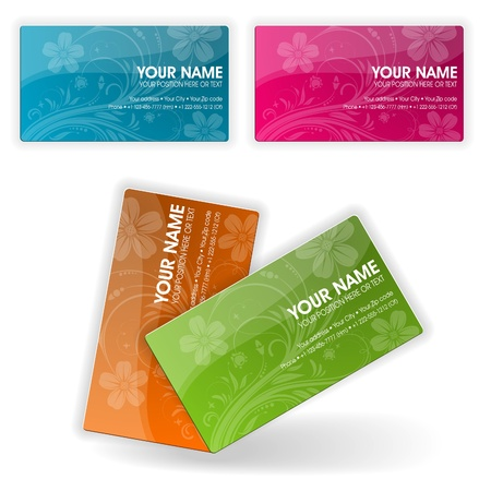 Collect Business Cards in Different Colors with Flower, illustration Vector