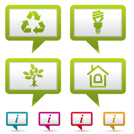 Collect Environment Web Icon with tree, leaf, light bulb and Recycling Symbol, illustration Stock Vector - 12489883