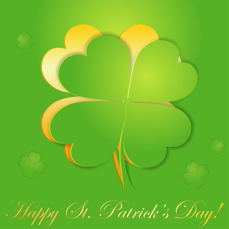 St. Patricks Day sticker with leaf Shamrock (Clover), illustration Vector
