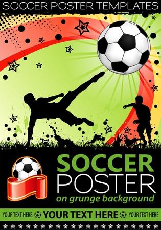 football match: Poster di calcio con giocatori con palla su sfondo grunge, elemento di design, illustrazione Vettoriali