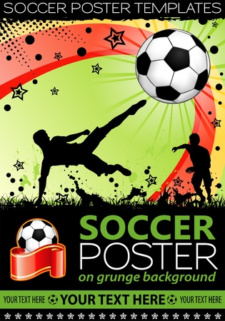 Soccer Poster with Players with Ball on grunge background, element for design, illustration Illustration