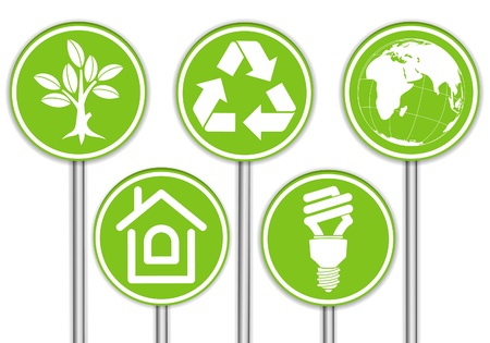 trees services: Collect Banner with Environment Icon, Tree, Leaf, Light Bulb and Recycling Symbol, illustration