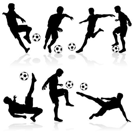 jugador de futbol soccer: Juego de siluetas de jugadores de f�tbol en varias poses con el Bal�n