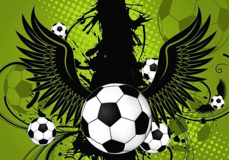 Soccer Balls on Grunge Background with Wings, element for design, illustration Vector