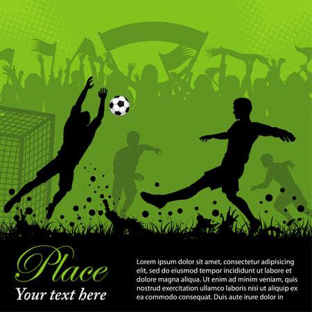 football silhouette: Poster di calcio con giocatori e tifosi su sfondo grunge, elemento di design, illustrazione