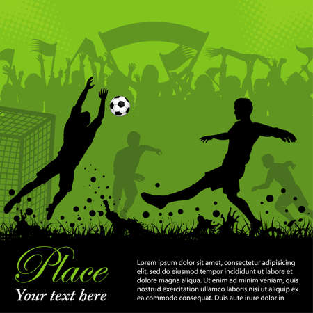 football kick: Soccer Poster with Players and Fans on grunge background, element for design, illustration Illustration
