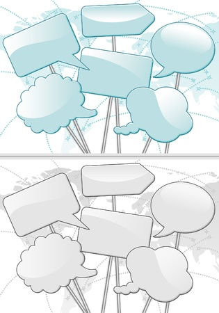 Speech Bubbles on the Map of the Earth - Concept Social Media in two colors, illustration Vector