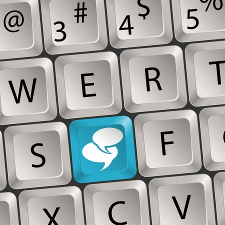 Concept Social Media - Computer keyboard with a key Speech Bubbles, illustration Stock Vector - 12490206