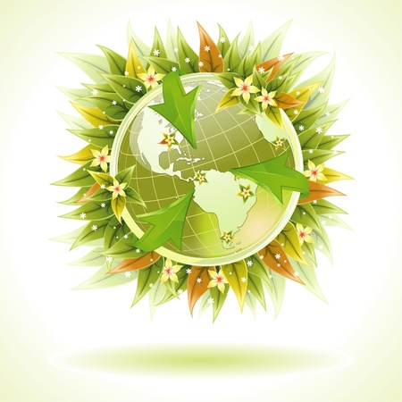 Environmentally Friendly Earth with Arrow and Green Leaves, illustration Stock Vector - 12490212