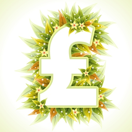 Frame made of a Pound Sign with Green Leaves and Flowers, illustration Vector